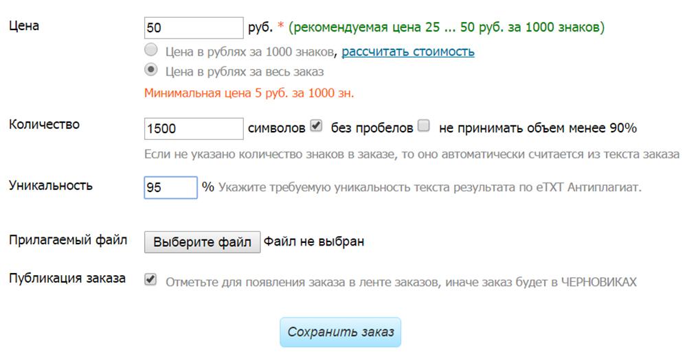 Публикация заказа на etxt