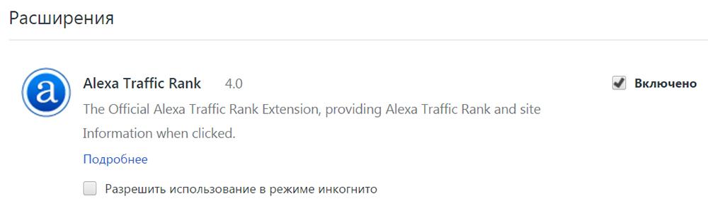 Расширение Alexa Rank для браузера